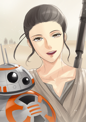 Rey and BB8 [star wars] by setsuna1111