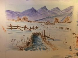 Purple mountains (Watercolour) by wortmore