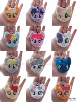 Pony faces! (Plush charms/keyrings/ornaments) by meplushyou