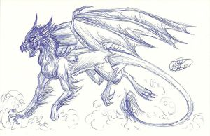 Fast Ink Sketch~ Dragon by RoomsInTheWalls