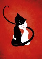 White And Black Cats In Love (red) by azzza