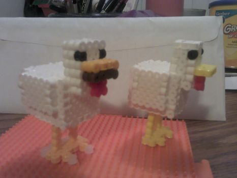 3D Minecraft Chicken Proto-Final Comparison by PixelSculptures