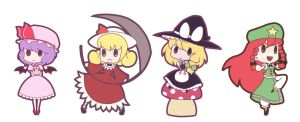 Touhou Chibies 1 by JellyBunny