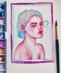Watercolor portrait - painting small thumbnails by jane-beata