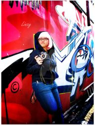 Pink Haired Linzy in alley by BackOneBurn3r