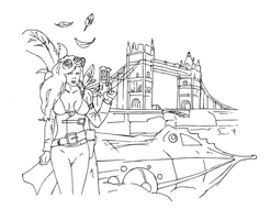 Steampunk girl on the London bridge by electronicdave