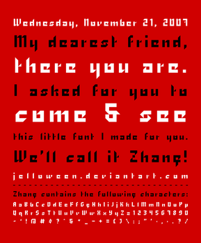 Font: ZHANG - free by jelloween