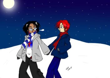 Jazz and Prowl in the snow by Hotaru-oz