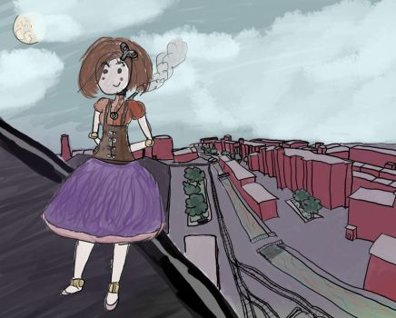 Lilith Above the City by lunarcloud