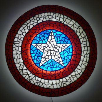 Captain America Shield in Stained Glass by mclanesmemories