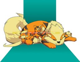 Naptime Arcanine and Growliths Commission by christi-chan