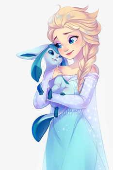 Elsa and glaceon by Kiwibon