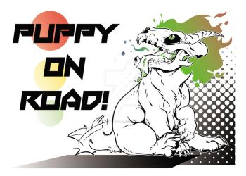 Hellhound pupper on road by Fly-Sky-High