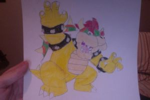 My drawing of Bowser by SplatCrosser