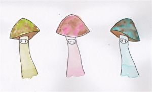 Mushroom friends by AbsyntheRequiem