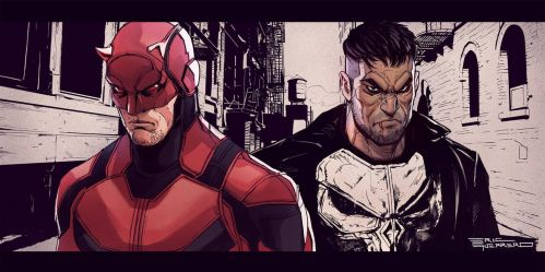 Daredevil and Punisher by e-guerrero