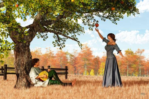 Couple at the Old Apple Tree by deskridge