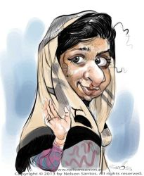 Malala caricature sketch by nelsonsantos