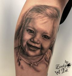 Adorable Little Girl Tattoo by Zindy