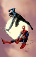 SpiderMan and NightWing colors by JoshTempleton