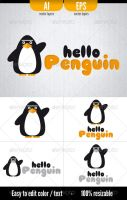 Hello Penguin - Logo Template by doghead