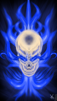 Blue Flame Skull by LostHawK81