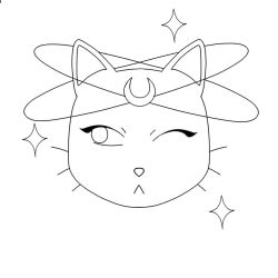 Moon Cat Lineart by skharty