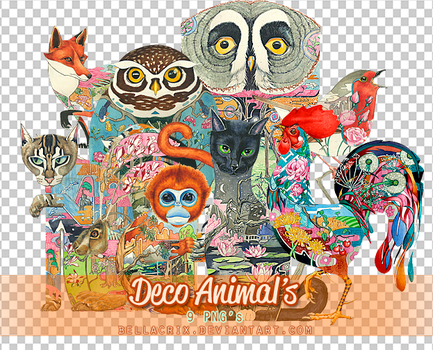 Deco Animals PNGs by Bellacrix