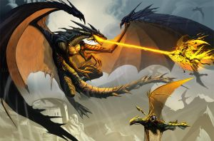 The black dragon attack PRINT by el-grimlock