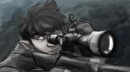 Sniper|Tinted Sketch Commission by mistress0minx