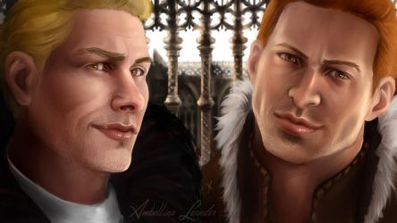 Dragon Age : Cullen and Alistair by AmbellinaLeander