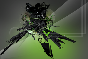Green Abstract 3D v2 by JhonnySilva