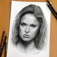 Ronda Rousey Pencil Drawing by AtomiccircuS