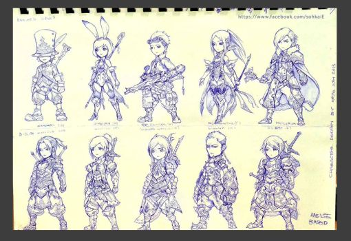 game character sketches by Kai-E-soh