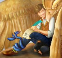 Newt Scamander and his Fantastic Beasts by Ronrinesu