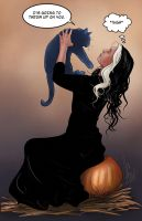 A witch and her familiar (cartoon version) by JamieCOTC