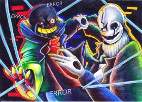Perpetration | Error Sans and W.D Gaster by J-Ssi