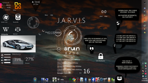 Rainmeter Screenshot with mix of skins by AryanAkanskh