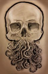 Traditional Octoskull on Toned Paper!! by Halasaar01