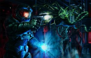 Aliens vs Halo by Rahll