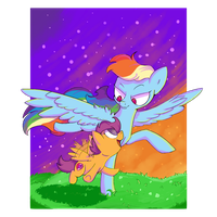 Dashie and Scoots: Flying Lesson by FriendlyRaccoon