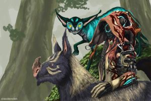 The Huntress and Her Companions by cyen