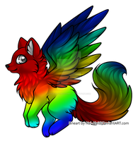 Rainbow Winged canine (Open) by SoulsofTheDoomed