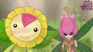 dA: Sunflowmon and Lilimon by mainkataABCD
