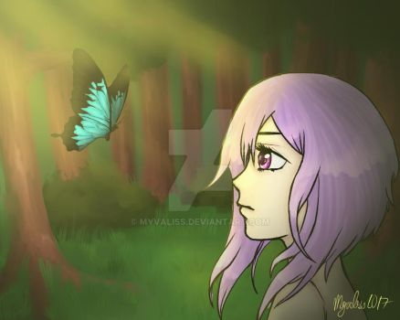 Girl and butterfly by Myvaliss