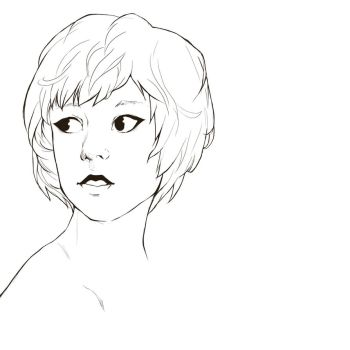 short hair lineart by Mizu-Kyuu