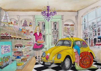 Taxi Bug in Cake Shop - Taxi's birthday by gypsysnail