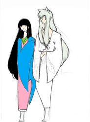 Kikyou and Inuyasha Sketch 2 by TheDemonofDesire