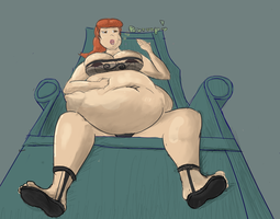Large Woman in a Chair by Xx-Dusty-Dragon-xX