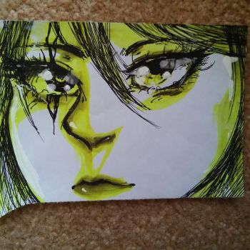 Pen and highlighter anime realism face by 67katana